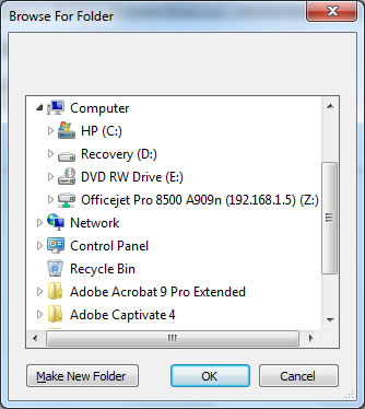 The browseFolder Dialog opens